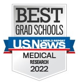Badge/picture of US News & World Report indicating University of Texas Health San Antonio Grad School receipt of best grad school for medical research